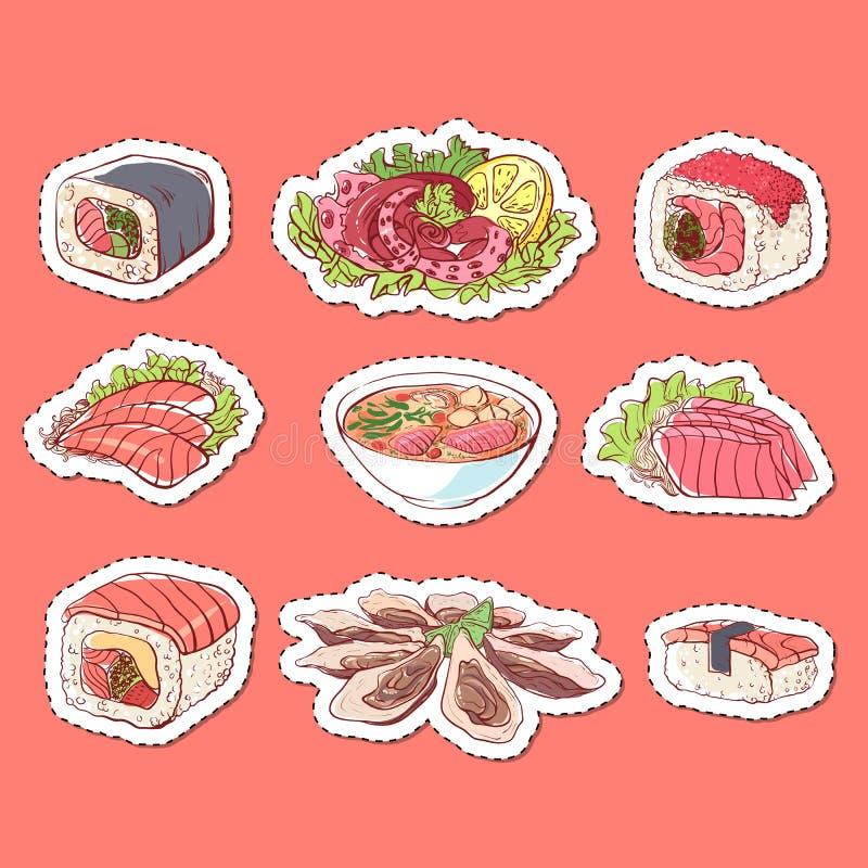 Labels d'isolement par plats japonais de cuisine illustration stock