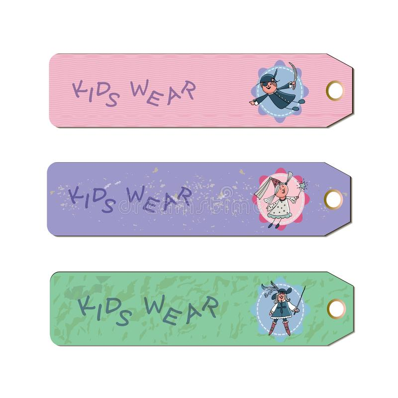 Labels d'usage d'enfants Personnages de dessin animé illustration de vecteur
