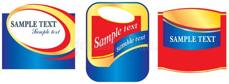Labels dans des couleurs rouges et bleues illustration stock