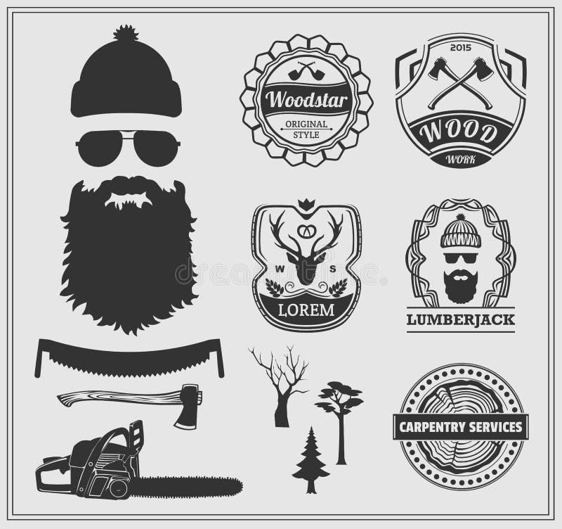 Labels de bûcheron, emblèmes et éléments de conception illustration stock