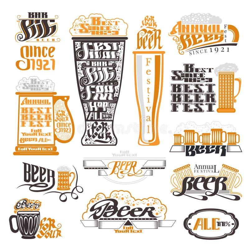 Labels de bar et de festival de bière, insignes et collection d'icônes illustration stock