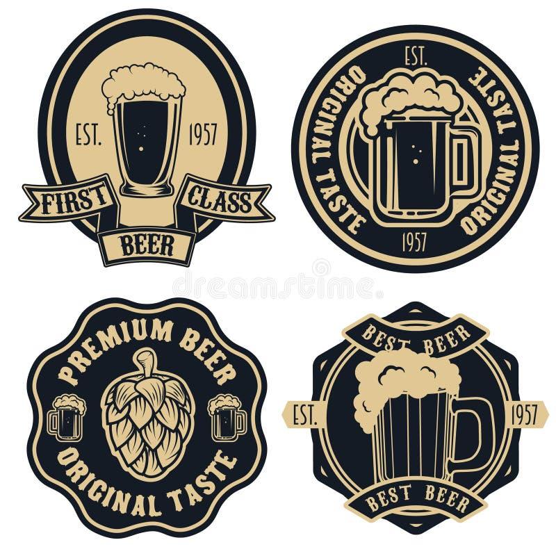 Labels de bière Éléments de conception de bière de métier de vintage rétros, emblèmes, illustration de vecteur
