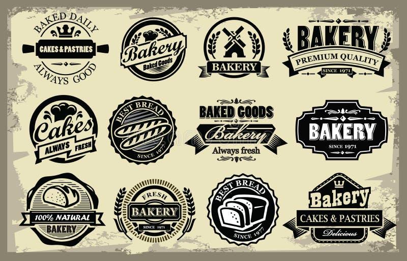 Labels de boulangerie illustration stock