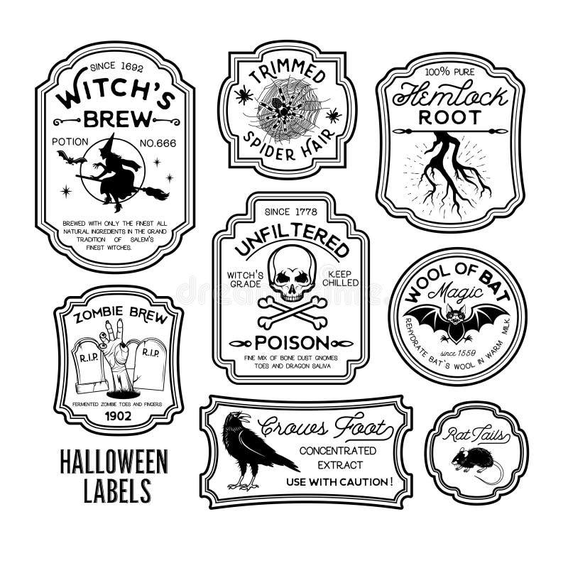 Labels de bouteille de Halloween illustration libre de droits
