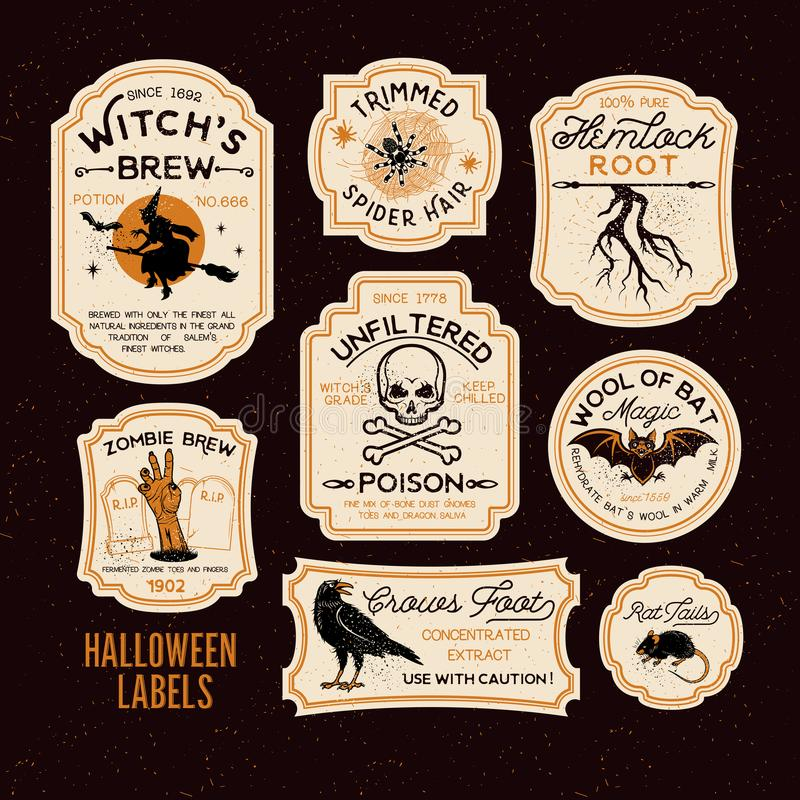 Labels de bouteille de Halloween illustration de vecteur
