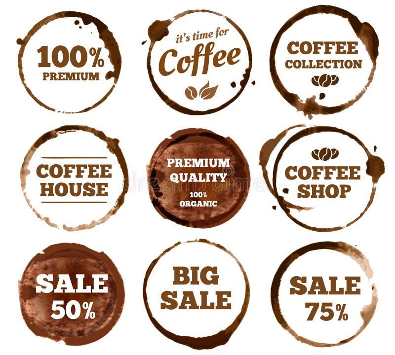Labels de café Logo sale de tache d'anneau de tasse d'expresso d'aquarelle Illustration d'isolement par vecteur illustration de vecteur