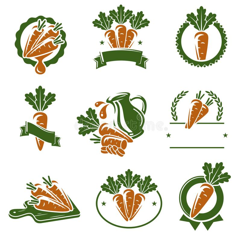 Labels de carotte et ensemble d'éléments Vecteur illustration de vecteur