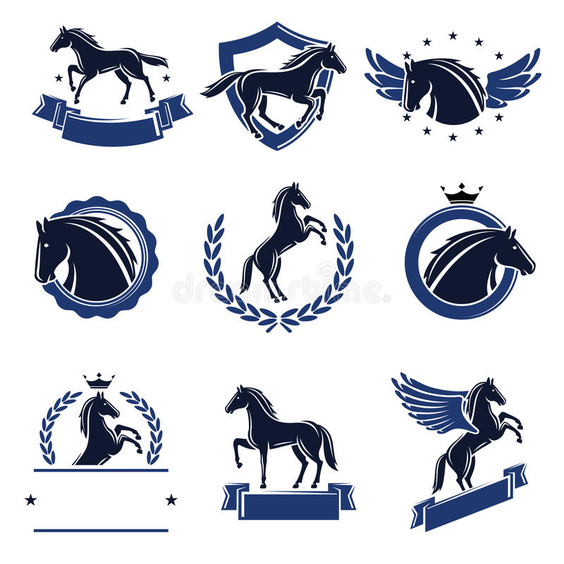Labels de cheval et ensemble d'éléments Vecteur illustration libre de droits