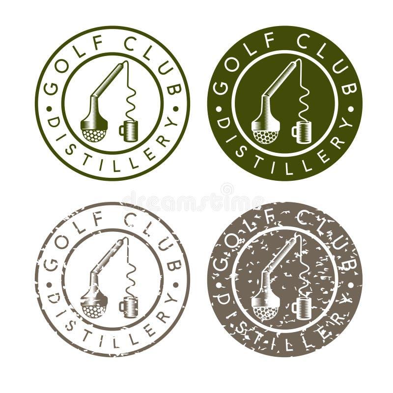 Labels de concept de distillerie de club de golf avec cassé illustration stock