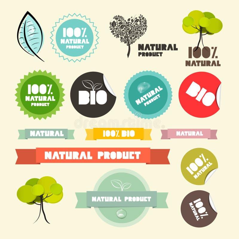 Labels de conception plate de produit naturel de vecteur rétros illustration de vecteur