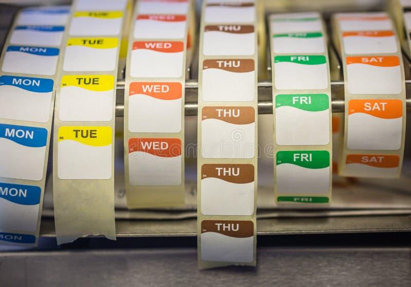 Labels de date de nourriture image stock