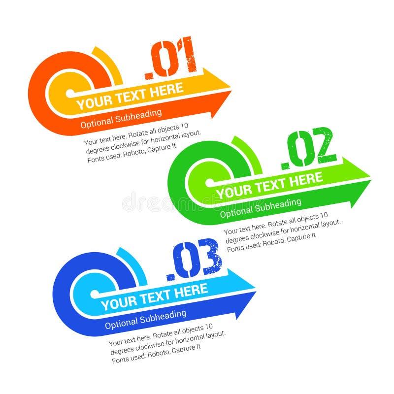 Labels de flèche d'étape de progrès de vecteur avec l'espace pour votre texte illustration de vecteur