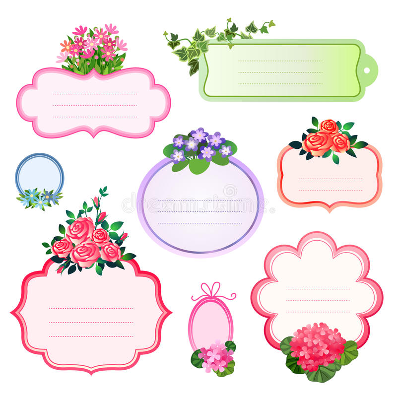 Labels de fleur illustration libre de droits