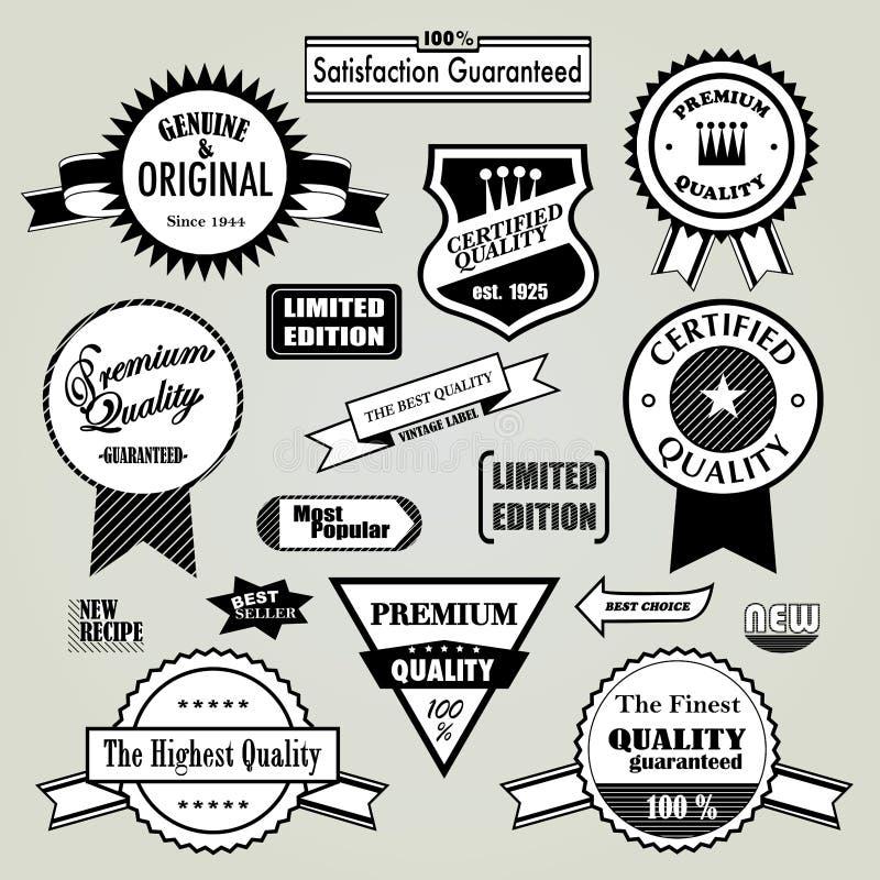 Labels de garantie de qualité illustration de vecteur