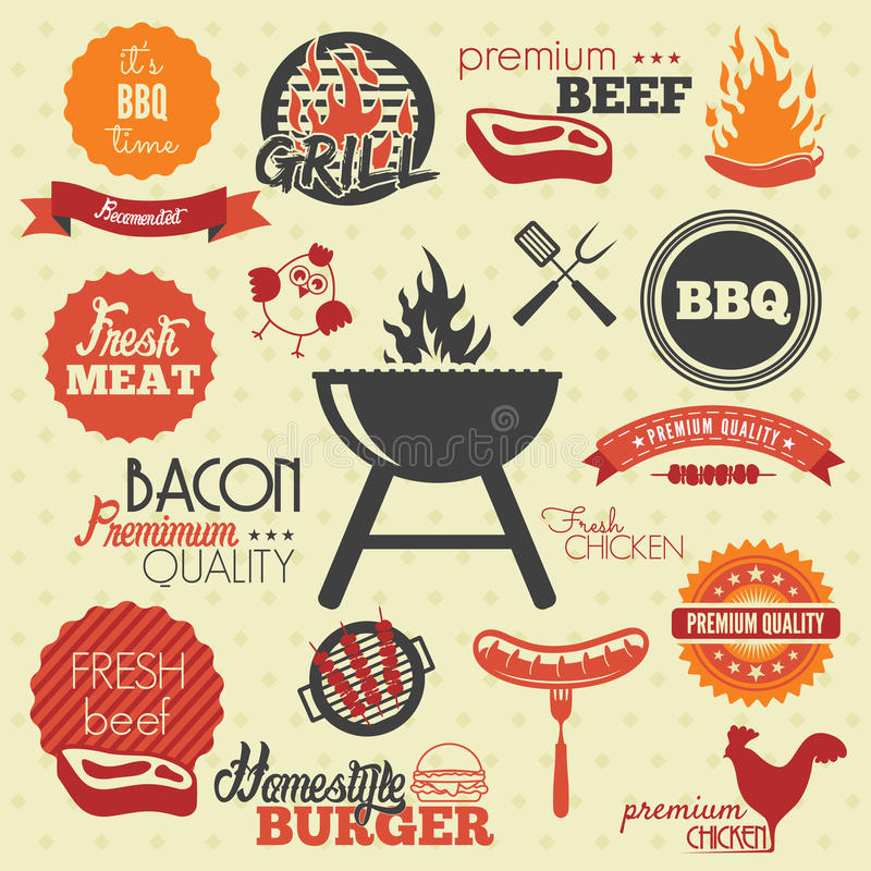 Labels de gril de BBQ de vintage illustration libre de droits