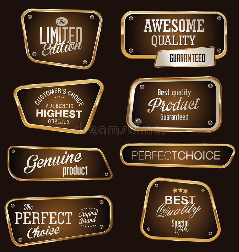Labels de la meilleure qualité d'or et de brun de qualité illustration stock