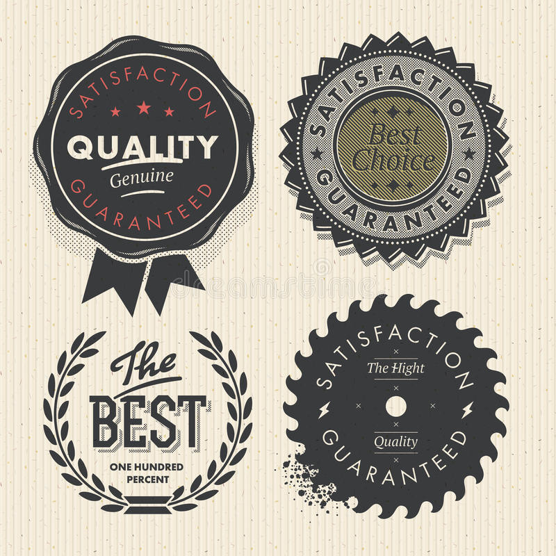 Labels de la meilleure qualité réglés de qualité et de garantie de cru illustration stock