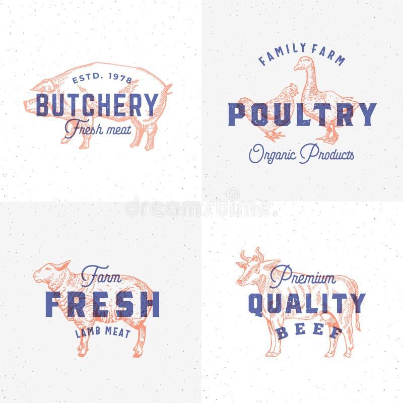 Labels de la meilleure qualité de viande et de volaille de vintage de qualité Rétros emblèmes d'effet d'impression Signe, symbole illustration stock