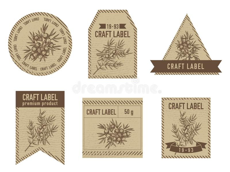 Labels de métier avec le genévrier illustration stock