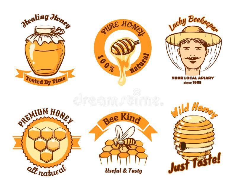 Labels de miel et logo de l'apiculture illustration de vecteur