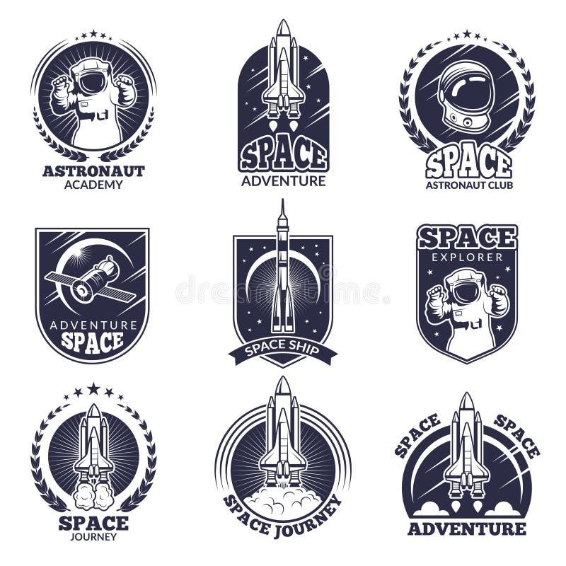Labels de monochrome pour des astronautes Dirigez les calibres d'insignes avec l'endroit pour votre texte illustration de vecteur
