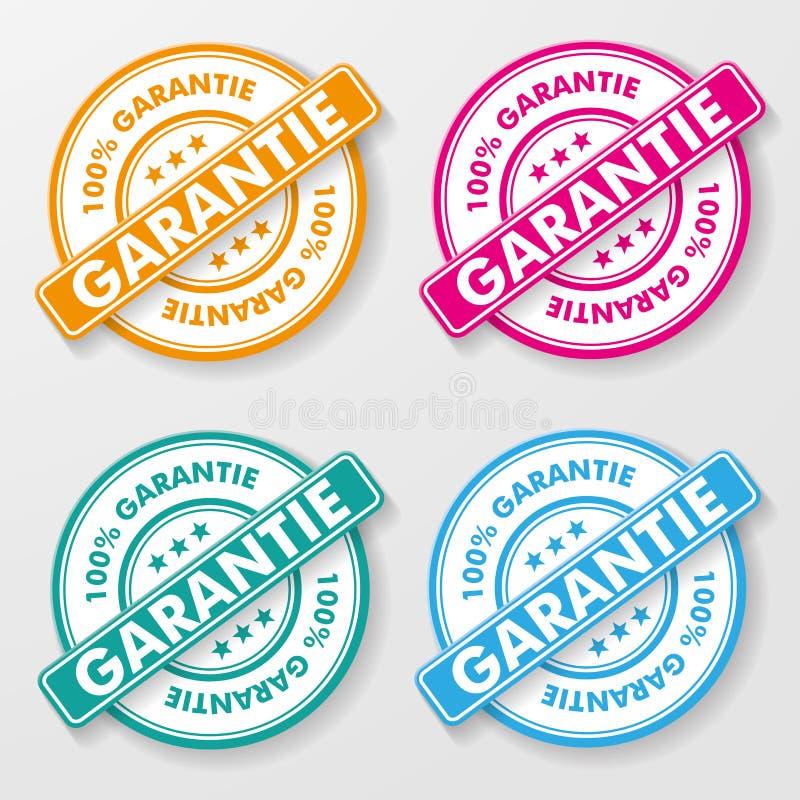Labels de papier de garantie de 100 pour cent illustration stock
