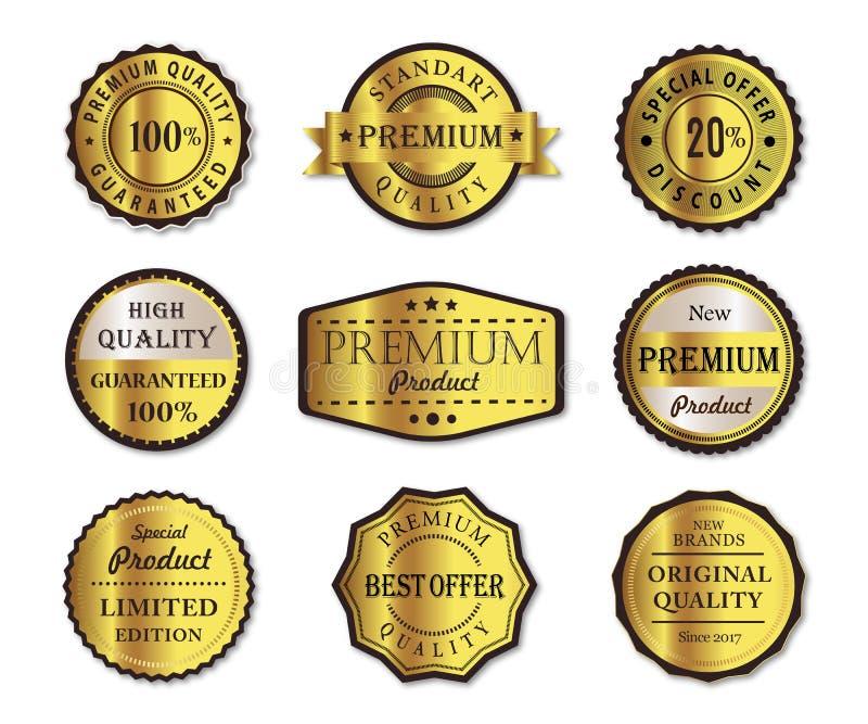 Labels de produit de qualité de la meilleure qualité illustration stock