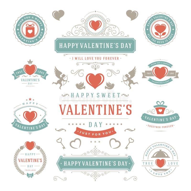 Labels de Saint-Valentin et cartes en liasse, icônes de coeur illustration de vecteur