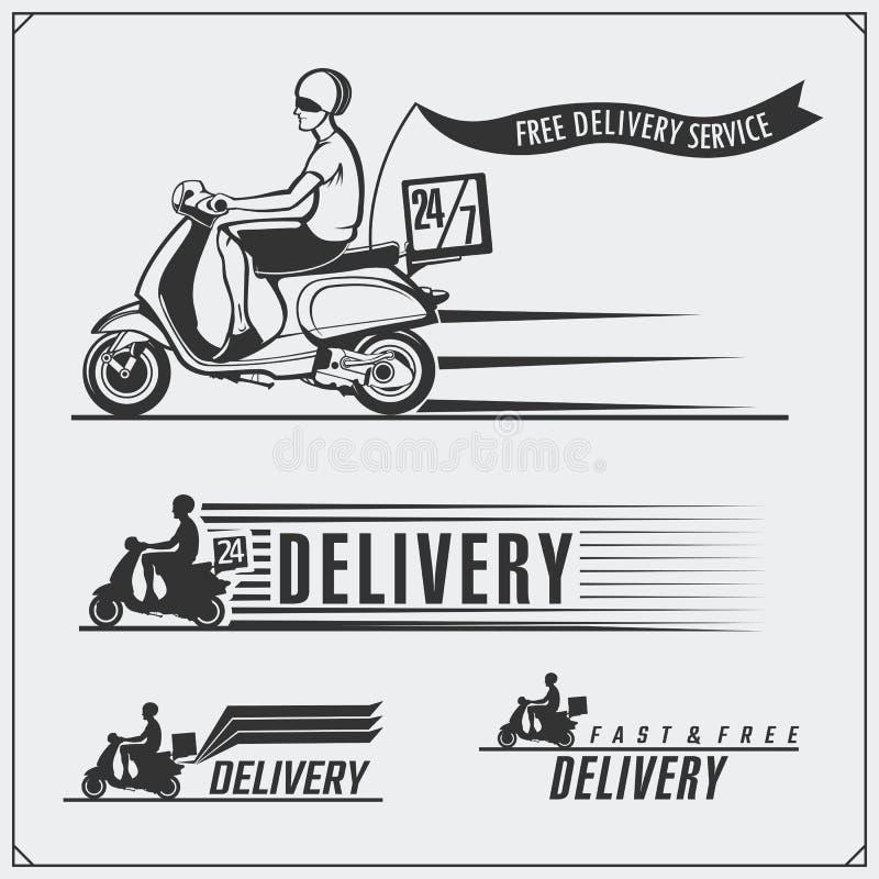 Labels de service de distribution, emblèmes, insignes et éléments de conception 24 heures de livraison de nourriture Styl de vint illustration libre de droits