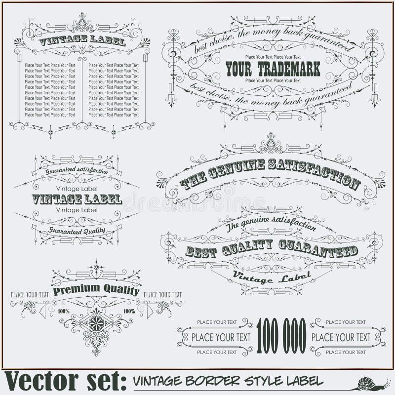 Labels de style de frontière sur différents sujets illustration stock