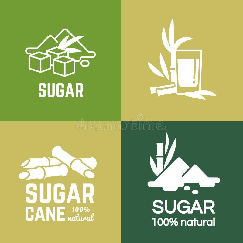 Labels de sucre blanc Conception de vecteur de logo Sucres de canne et de betteraves illustration libre de droits