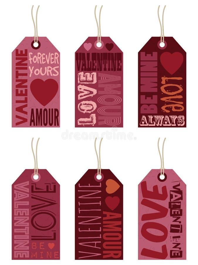 Labels de Valentine illustration de vecteur