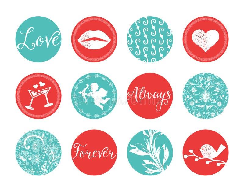 Labels de valentines de vintage illustration libre de droits