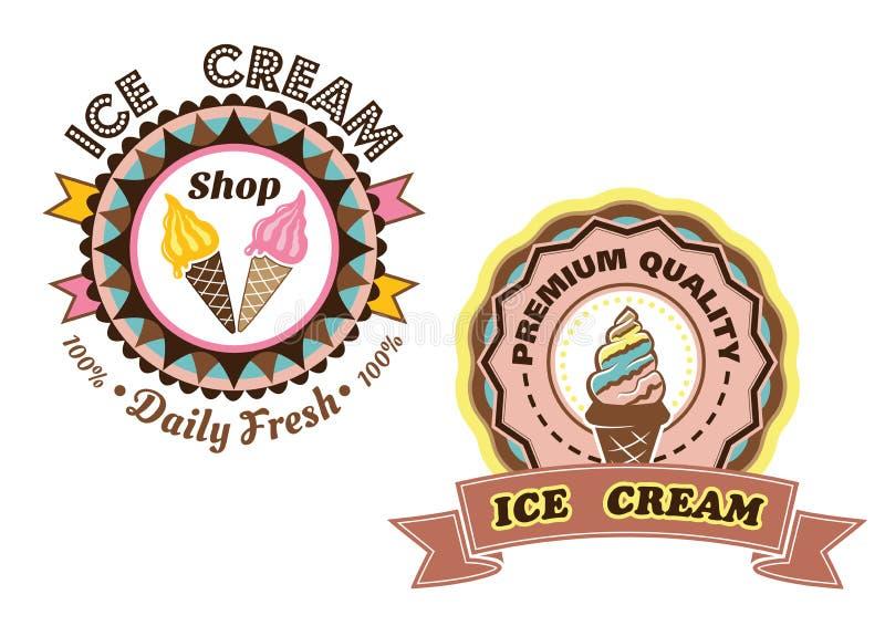 Labels de vecteur de crème glacée  illustration de vecteur