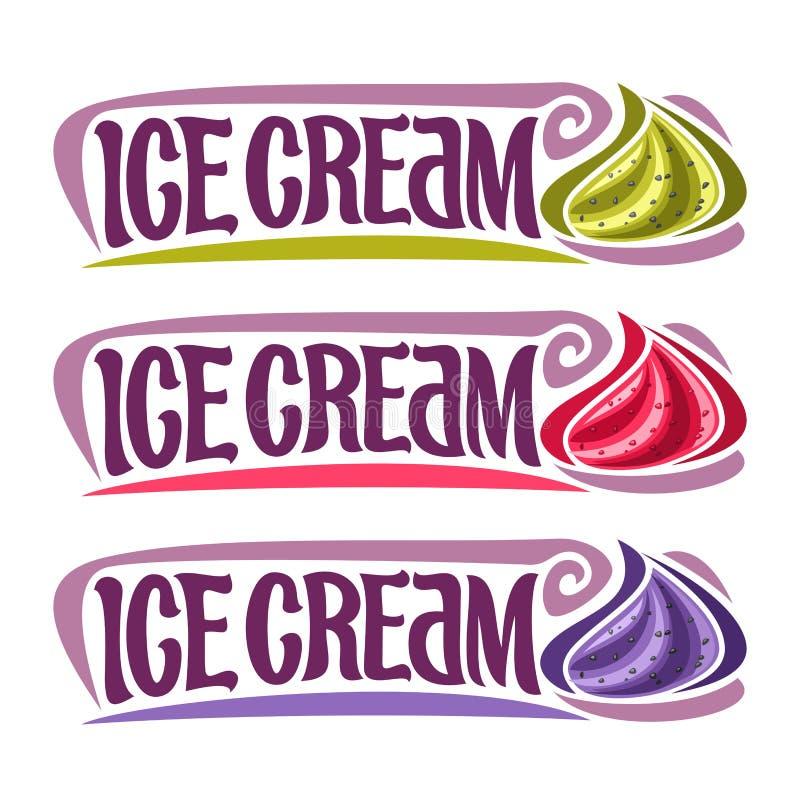 Labels de vecteur pour la crème glacée  illustration stock