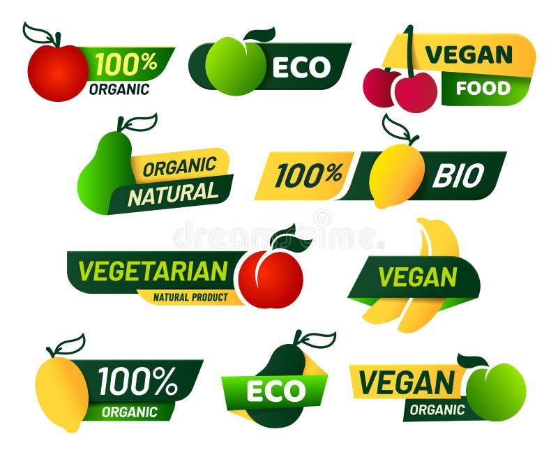 Labels de Vegan Nourriture verte d'eco, produits biologiques frais sains et ensemble végétarien de vecteur de label d'emblème illustration libre de droits