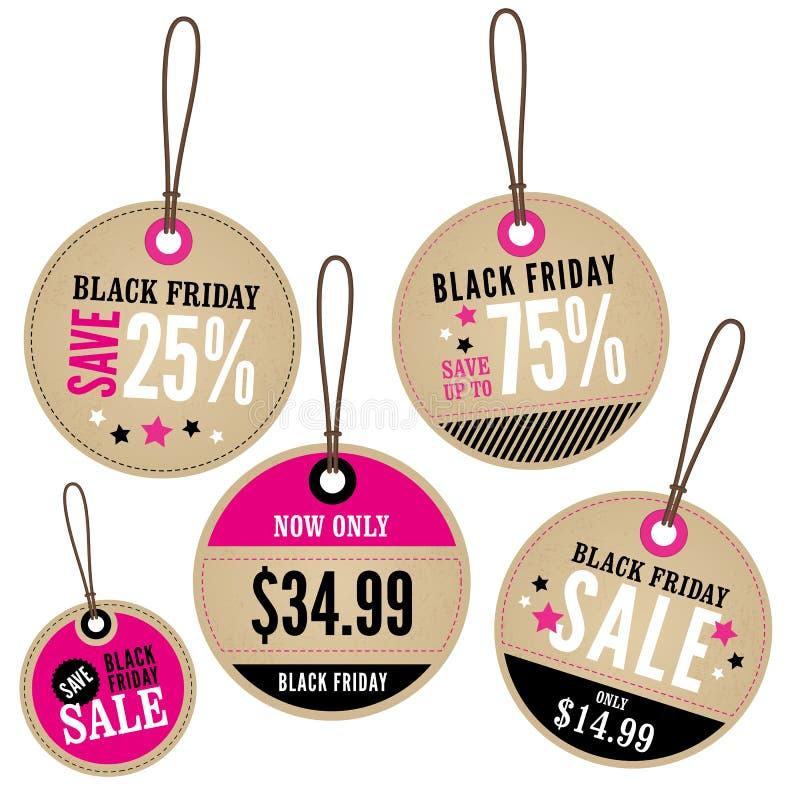 Labels de vente au détail de Black Friday illustration de vecteur