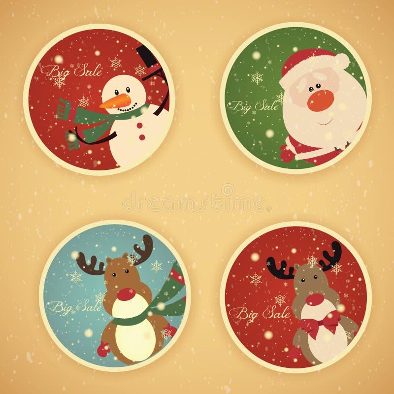 Labels de vente de Noël illustration stock