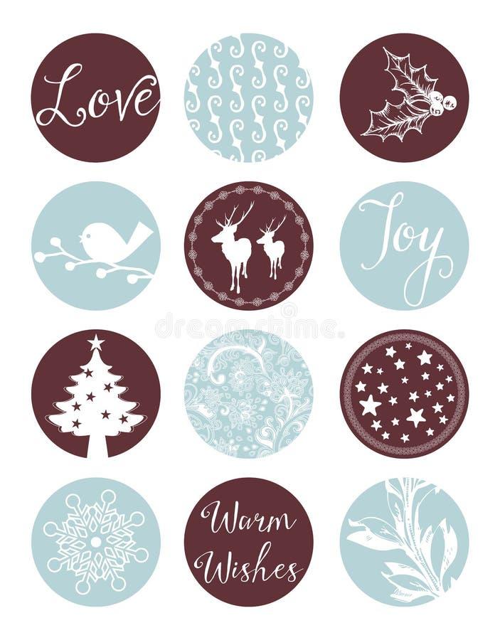 Labels de vintage de Noël illustration de vecteur