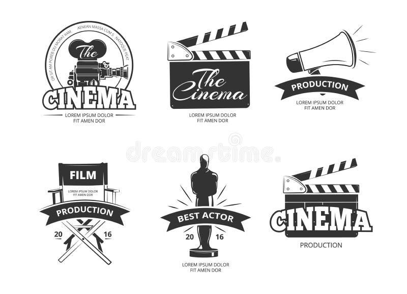 Labels de vintage de vecteur de cinéma, emblèmes, insignes réglés illustration de vecteur