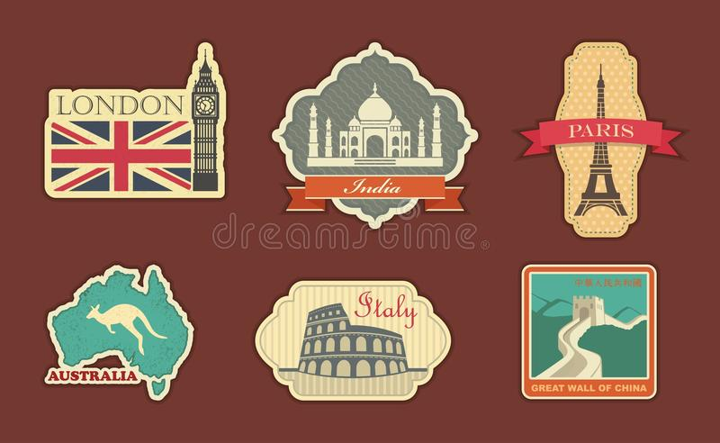 Labels de voyage illustration stock