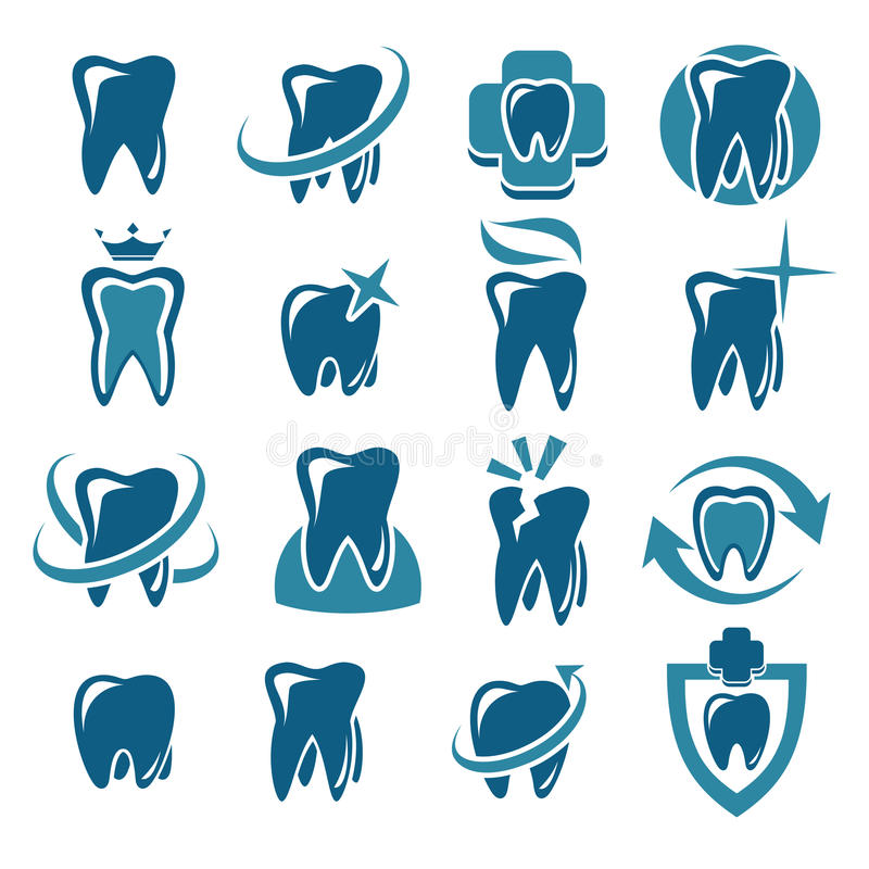 Labels dentaires et icônes réglés Vecteur illustration libre de droits