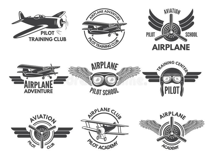Labels design template with pictures of airplanes stock illustration