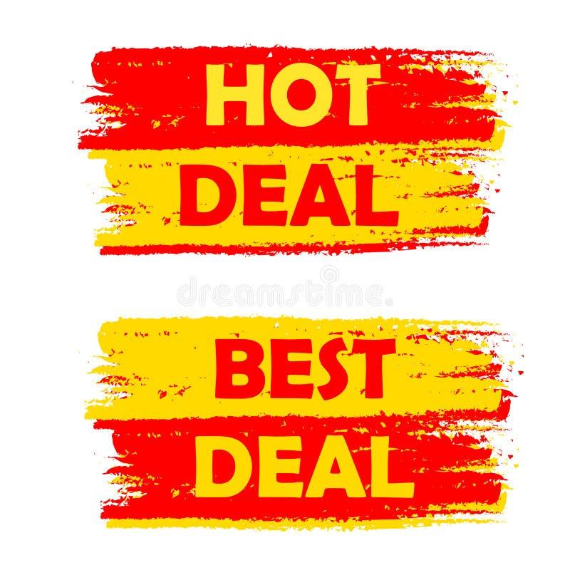 Labels dessinés chauds et meilleurs d'affaire, jaunes et rouges illustration libre de droits