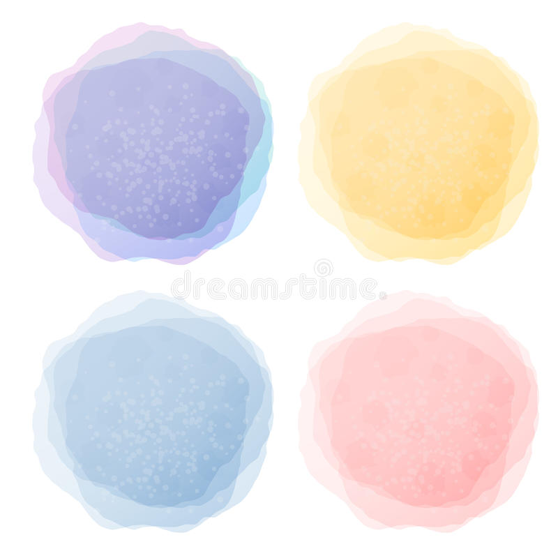 Labels en pastel abstraits d'aquarelle illustration stock