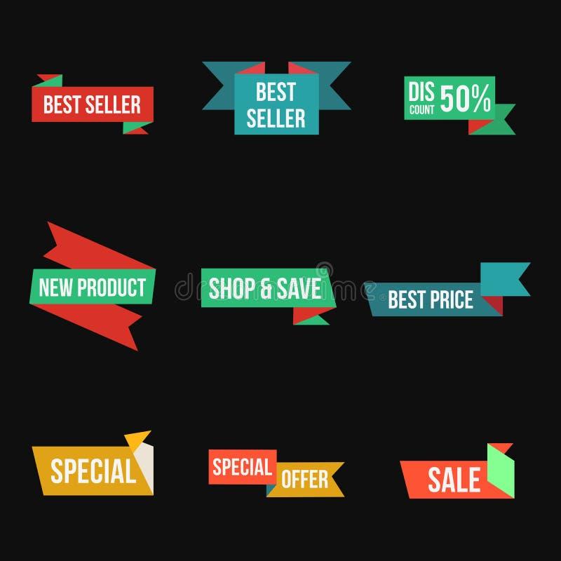 Labels et autocollants de ruban de promo réglés Élément d'isolement de conception de joints de vente illustration stock