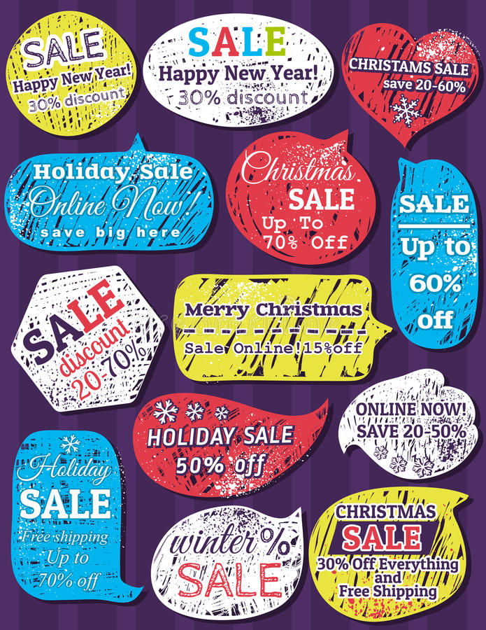 Labels et bannières pour Noël illustration de vecteur