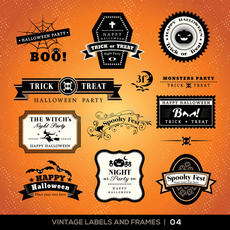 Labels et cadres de Halloween de vintage illustration libre de droits
