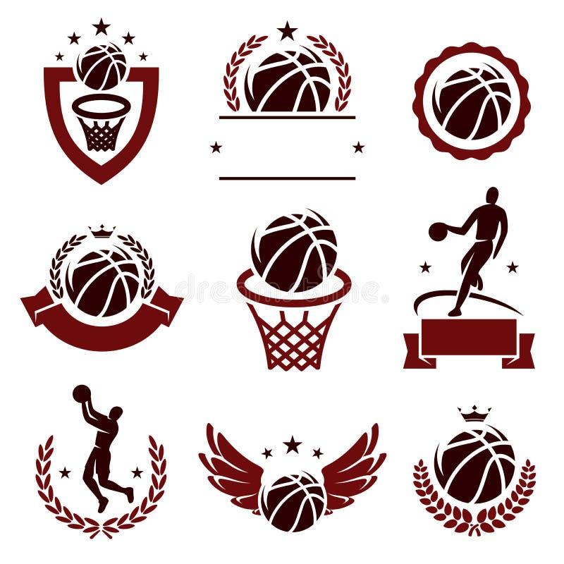 Labels et icônes de basket-ball réglés Vecteur illustration libre de droits