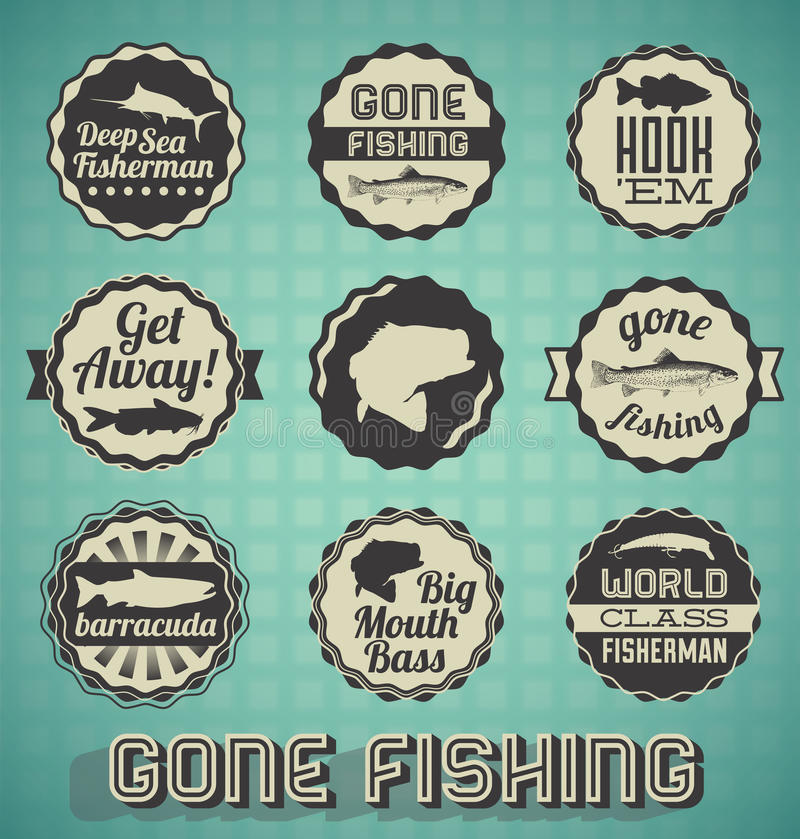 Labels et icônes de pêche allés illustration libre de droits